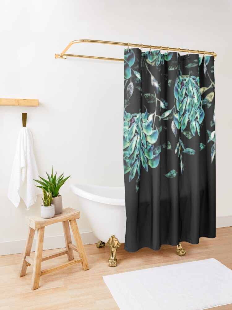 Alternate view of Jade Vine Black and Teal Tropical Floral Print Shower Curtain