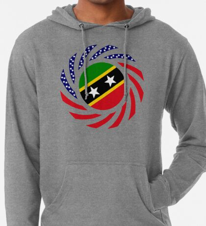 Kittian and Nevisian American Multinational Patriot Flag Series Lightweight Hoodie