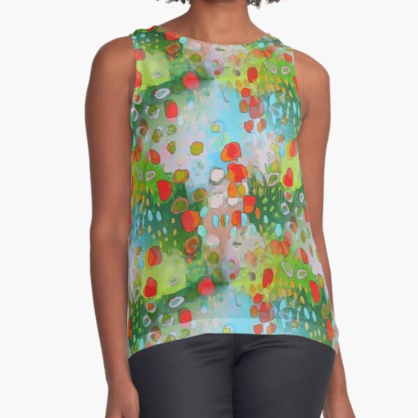 Abstract Poppy Field (seamless):  Sleeveless Top