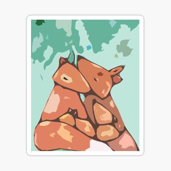 Fox family of four Sticker