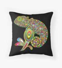 Chameleon Psychedelic Throw Pillow