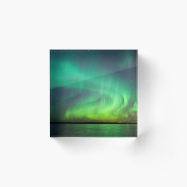 Northern lights over lake in Finland Acrylic Block