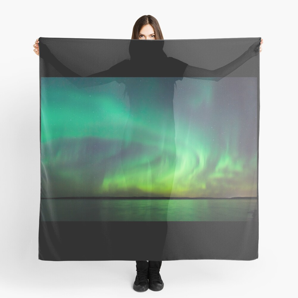 Northern lights over lake in Finland Scarf