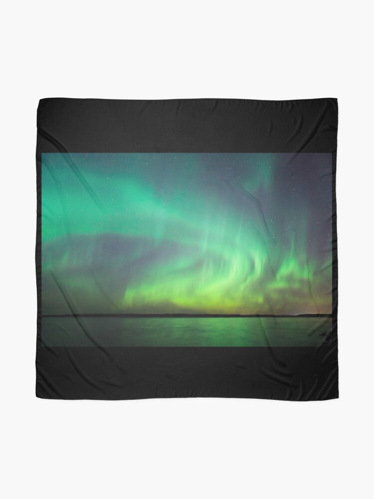 Alternate view of Northern lights over lake in Finland Scarf