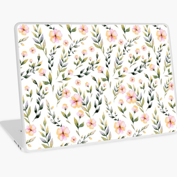 Blush pink green watercolor hand painted floral pattern Laptop Skin