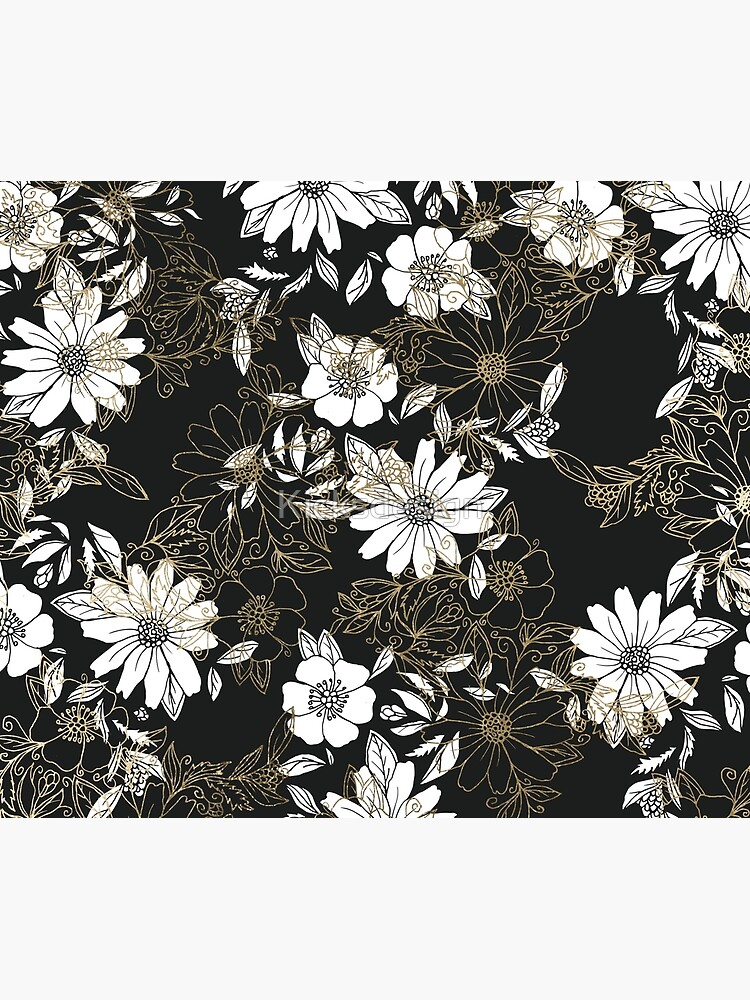Modern black white faux gold elegant floral by Kicksdesign