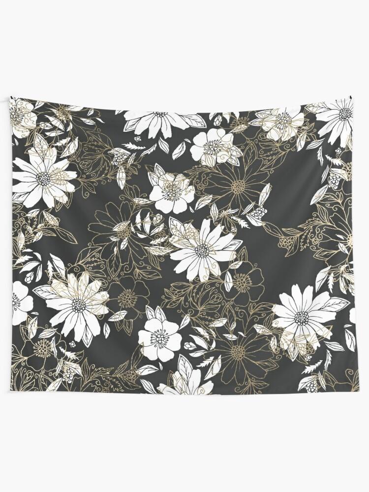 Alternate view of Modern black white faux gold elegant floral Tapestry