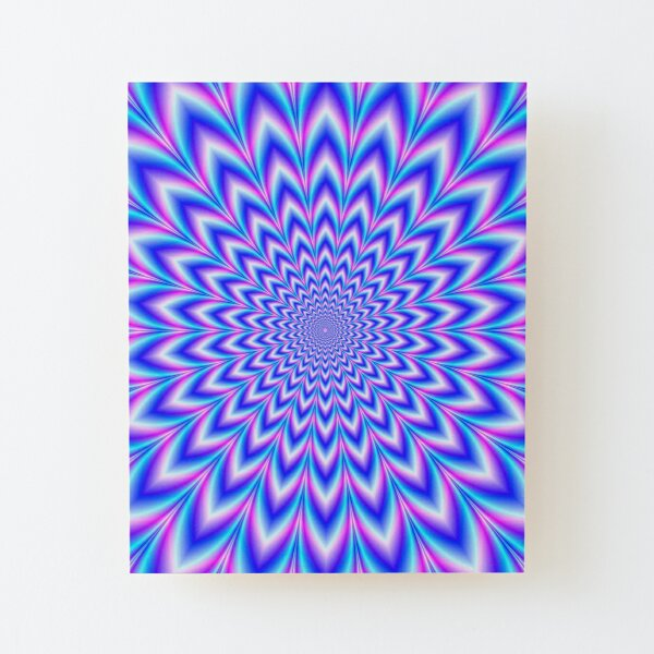 Psychedelic Pulse in Blue and Pink Wood Mounted Print