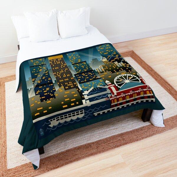 """CHICAGO"" Vintage Travel Advertising Print Comforter"
