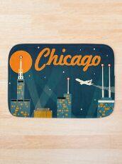"""CHICAGO"" Vintage Travel Advertising Print Bath Mat"