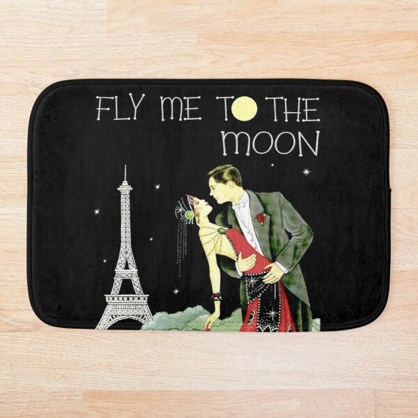 FLY ME TO THE MOON; Vintage Dance Print Bath Mat