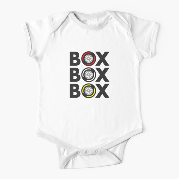 """Box Box Box"" F1 Tyre Compound Design Short Sleeve Baby One-Piece"