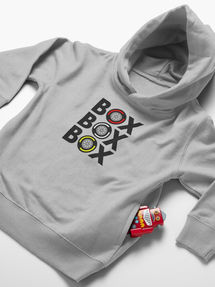 """Alternate view of """"Box Box Box"""" F1 Tyre Compound Design Toddler Pullover Hoodie"""