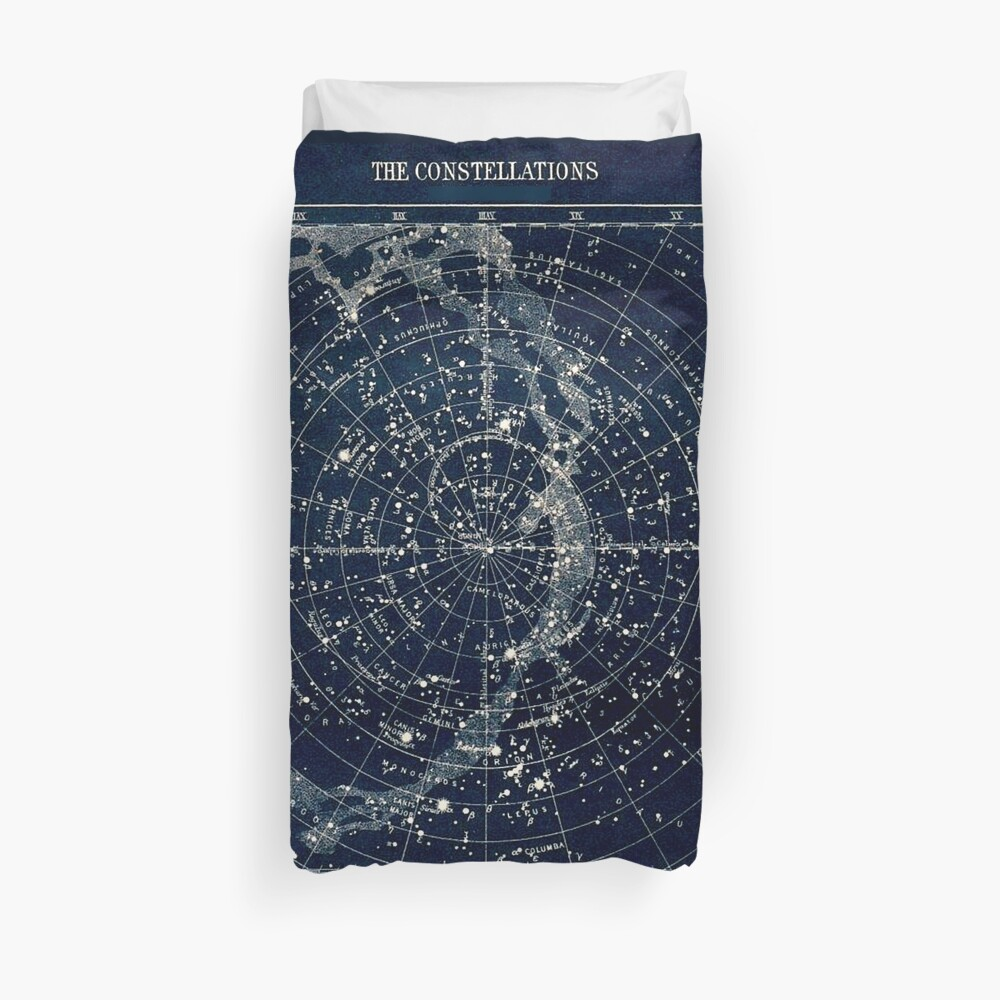 THE STAR CONSTELLATIONS : Vintage 1900 Galaxy Print Duvet Cover