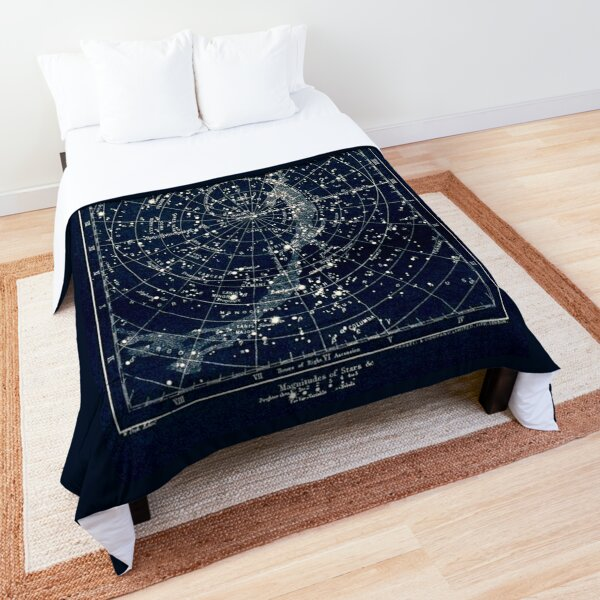 THE STAR CONSTELLATIONS : Vintage 1900 Galaxy Print Comforter