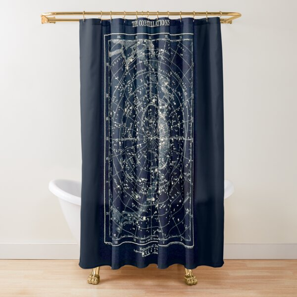 THE STAR CONSTELLATIONS : Vintage 1900 Galaxy Print Shower Curtain