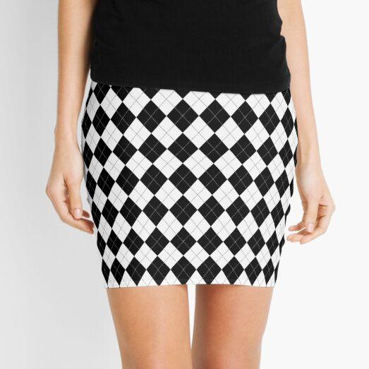 Black and White Argyle Pattern Mini Skirt