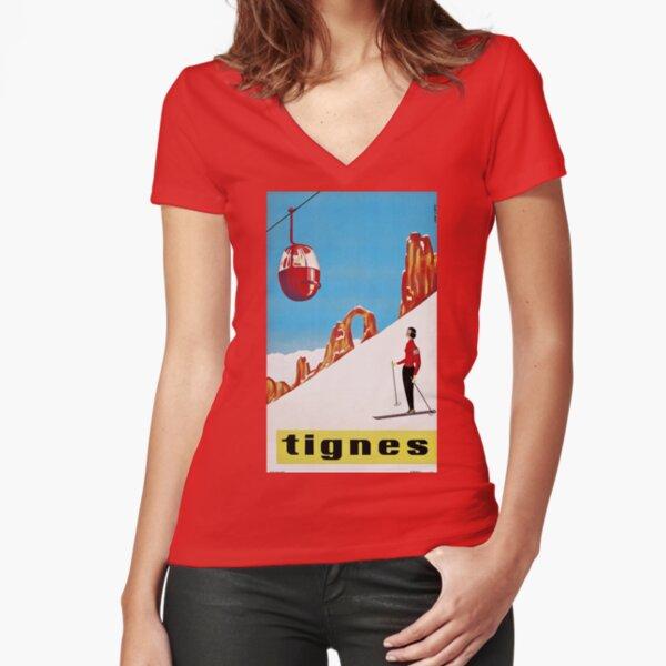 She Skis Alone Vintage ski sport poster Fitted V-Neck T-Shirt