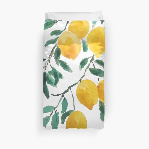 yellow lemon watercolor  Duvet Cover