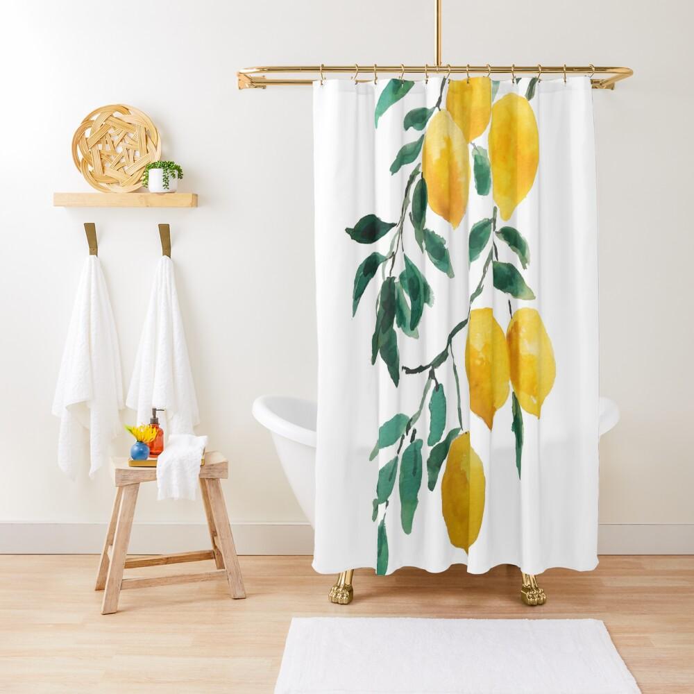 yellow lemon watercolor  Shower Curtain
