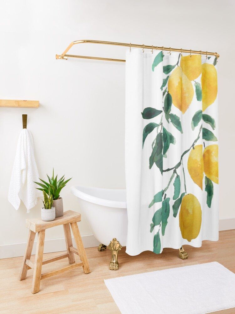 Alternate view of yellow lemon watercolor  Shower Curtain