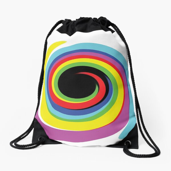 #OpArt #OpticalArt #Rainbow, #design, vortex, creativity, bright, target, horizontal, color, circle, multi colored Drawstring Bag