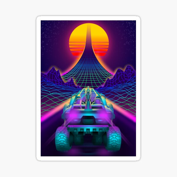 Outrun Retrowave Warthog Halo Ring Sticker