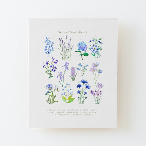 blue and purple  flower collection watercolor  Wood Mounted Print