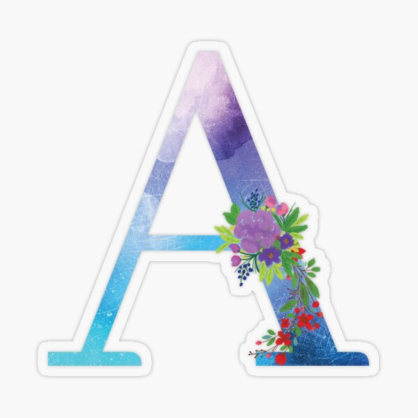 Floral Monogram Letter A Transparent Sticker