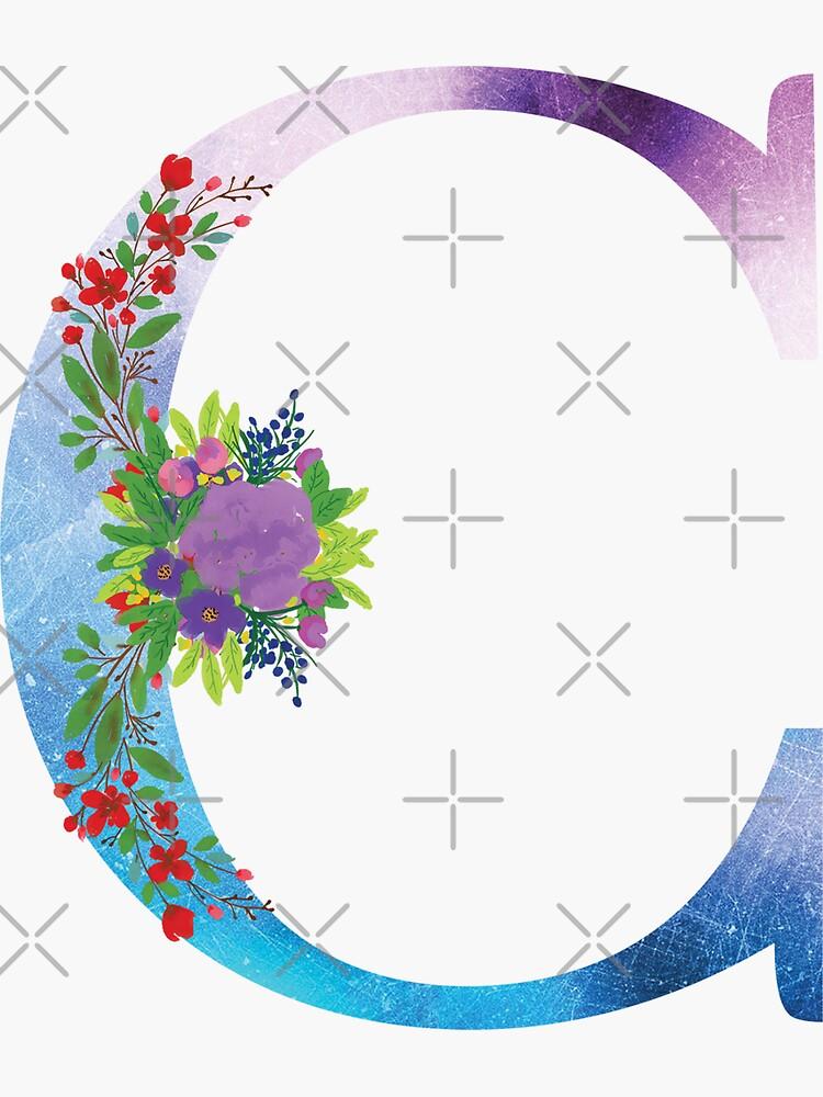 Floral Monogram Letter C by tribbledesign
