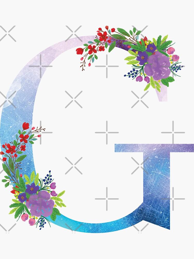 Watercolor Floral Monogram Letter G by tribbledesign