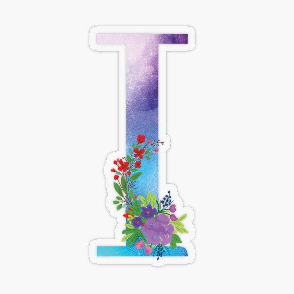 Watercolor Floral Monogram Letter I Transparent Sticker