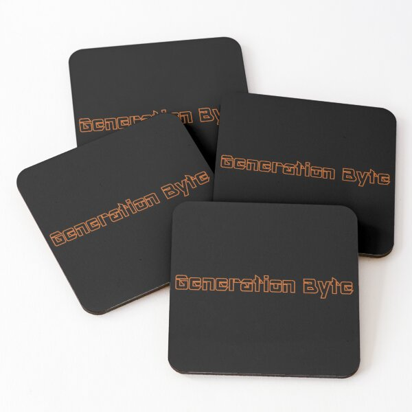 Generation Byte Orange Outline on Black Background Coasters (Set of 4)