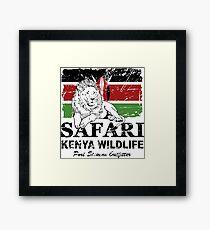 Kenya Lion Flag - Vintage Look Framed Print