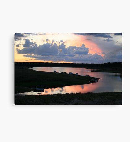 Campers' Sunset at Lake Boondooma Canvas Print