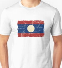 Laos Flag - Vintage Look Unisex T-Shirt