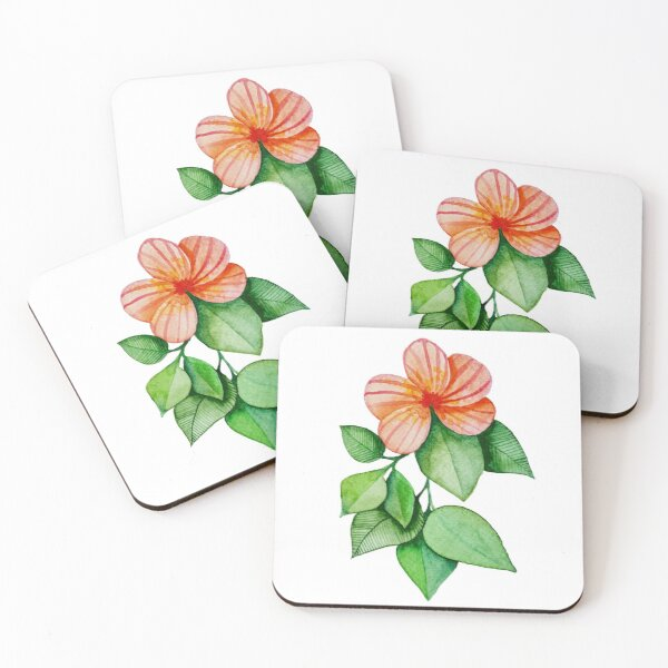 floral watercolor handpainted Coasters (Set of 4)