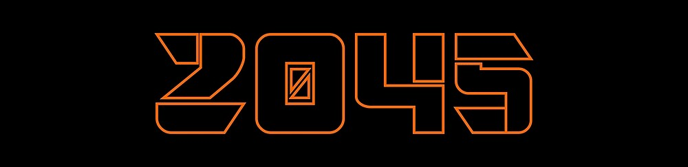 2045 Orange Outline on Black Background by GenerationByte