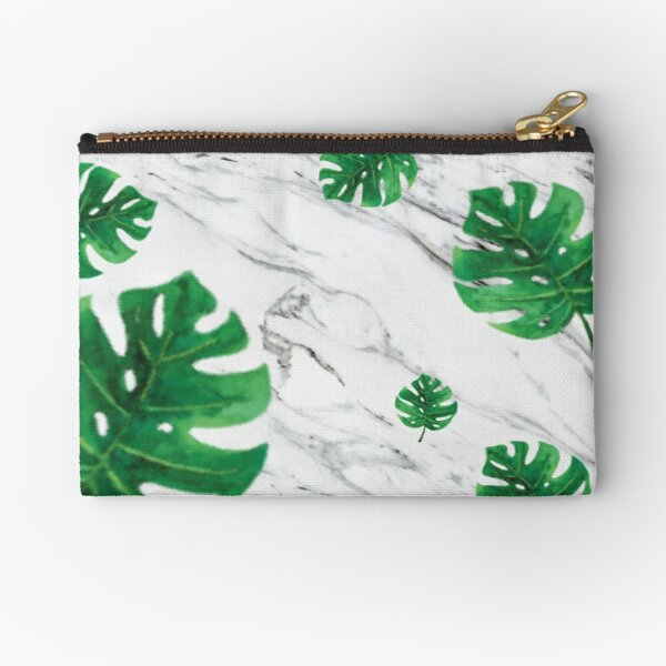 Marble Palm Leaf Design Zipper Pouch