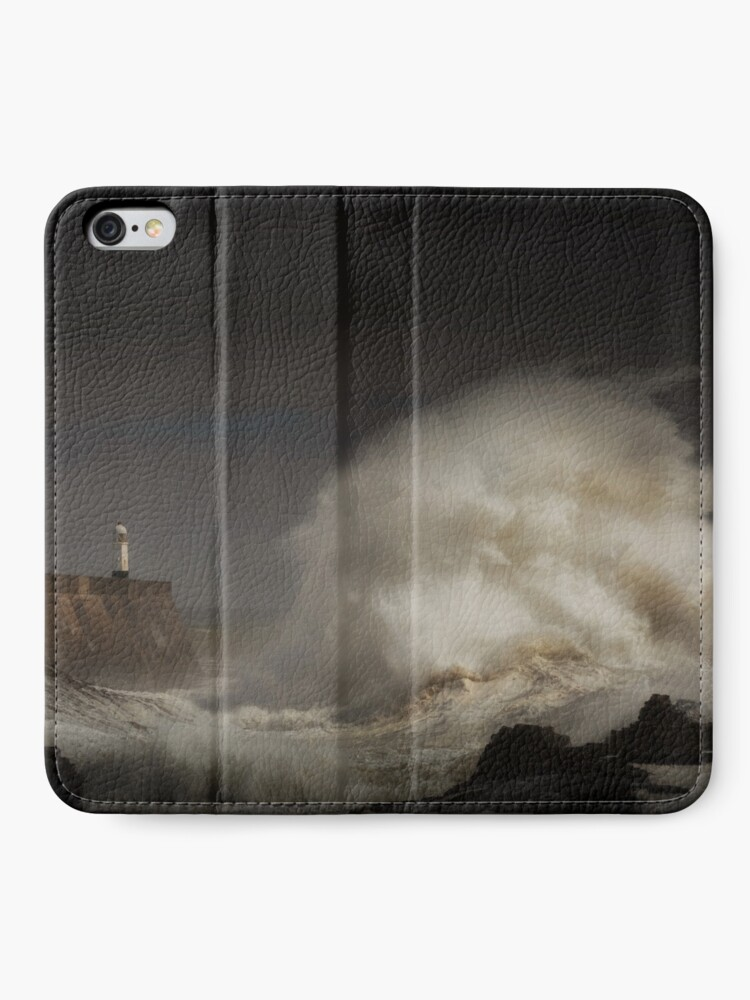 Alternate view of Porthcawl lighthouse and storm iPhone Wallet