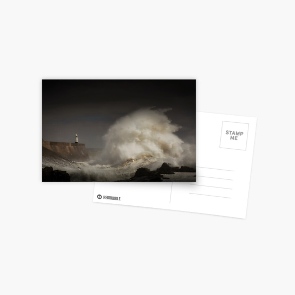 Porthcawl lighthouse and storm Postcard