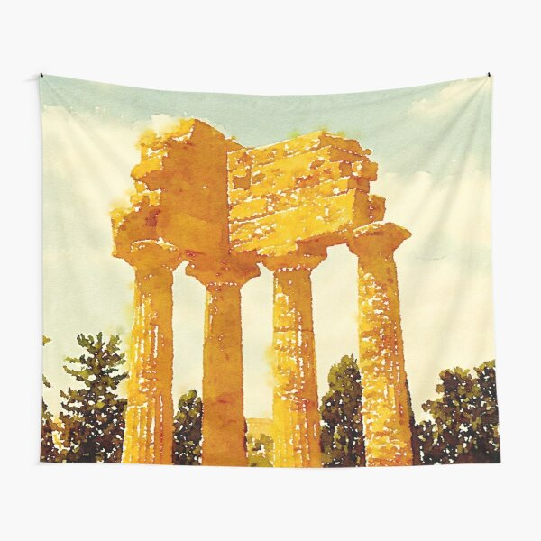 Temple of Castor and Pollux, Valle dei Templi, Agrigento, Sicily, Italy Tapestry