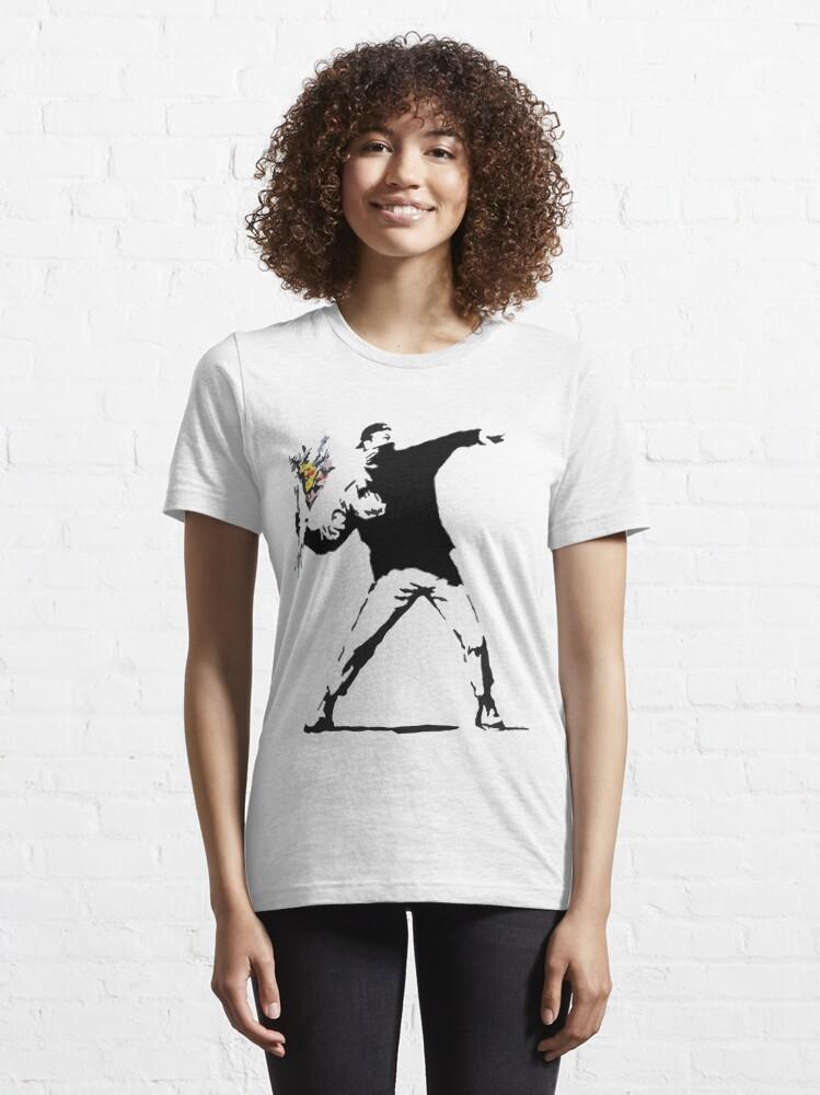 Alternate view of Rage Flower Bomber Stencil Essential T-Shirt