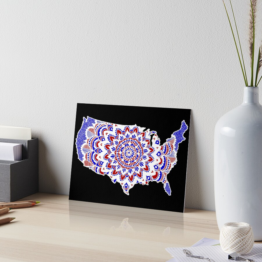 Mandala Map of the U.S.A. Art Board Print