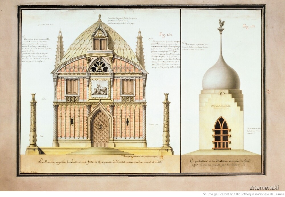 Jean-Jacques Lequeu #Architecture, #Old, #Art, #Tower, dome, cathedral, ancient, monument, illustration by znamenski