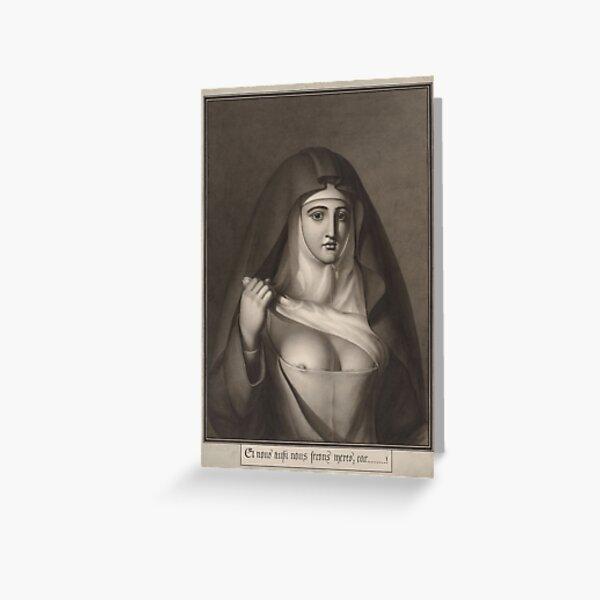 Jean-Jacques Lequeu #Painting, #Visual #Art, #Portrait, Nun, People, Adult, Veil, Religion, Women Greeting Card