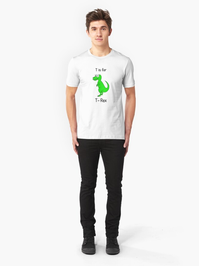Alternate view of T is for T-Rex Slim Fit T-Shirt