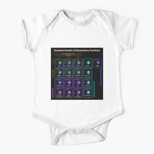 Standard Model Of Elementary Particles #Quarks #Leptons #GaugeBosons #ScalarBosons Bosons Short Sleeve Baby One-Piece