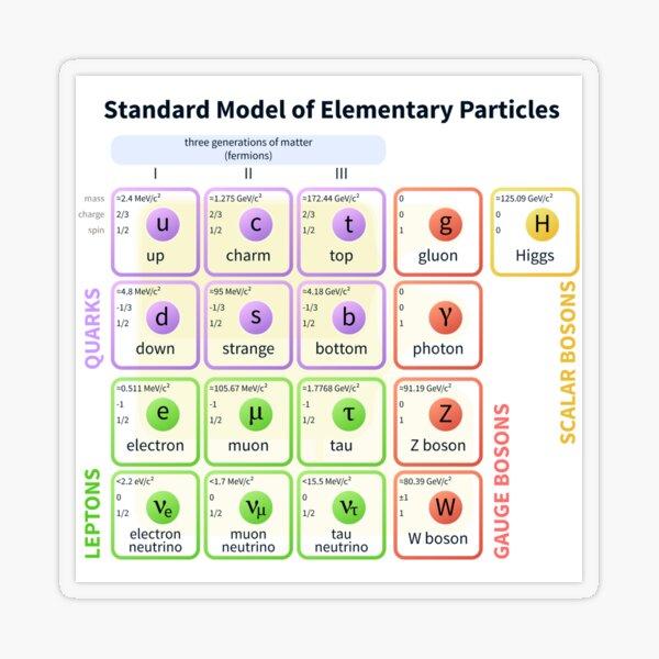 Standard Model Of Elementary Particles  #Quarks #Leptons #GaugeBosons #ScalarBosons Bosons Transparent Sticker