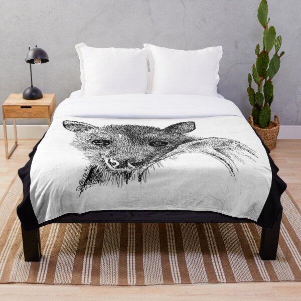 Black Flying Fox Bat In Black And White. Throw Blanket